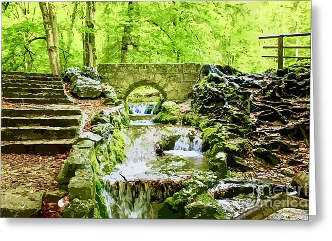 Woodland Steps And Stream Greeting Card