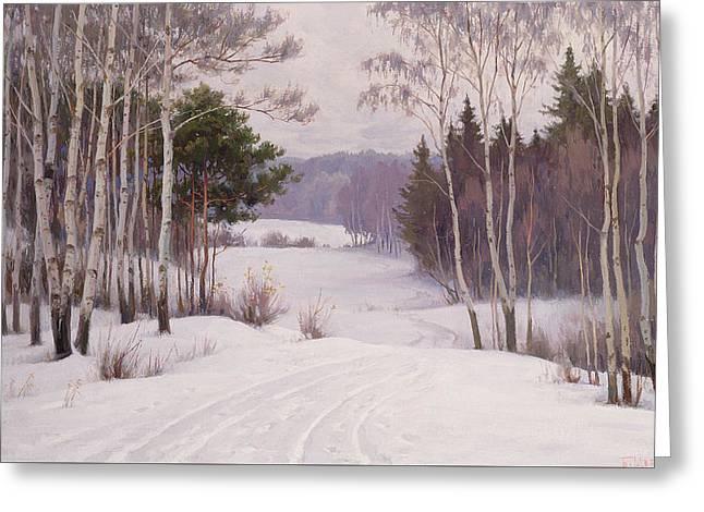 Woodland Trail Greeting Card by Boris Walentinowitsch Scherkow