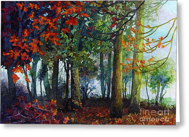 Greeting Card featuring the painting Woodland Trail by Hailey E Herrera