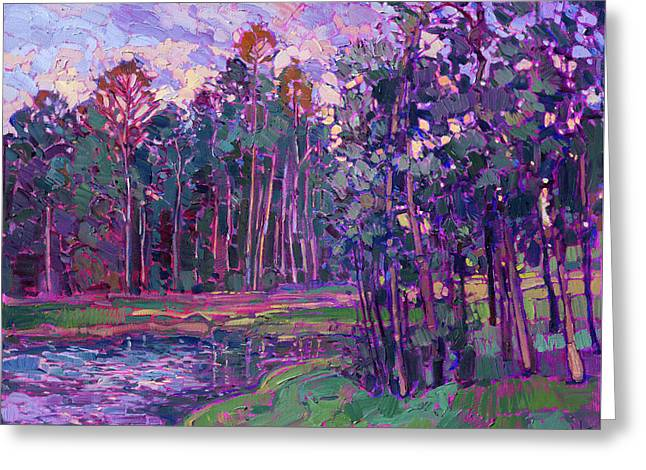 Woodlands Lake Greeting Card by Erin Hanson