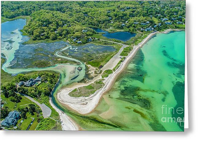 Greeting Card featuring the photograph Woodneck Beach At 400 Feet by Michael Hughes