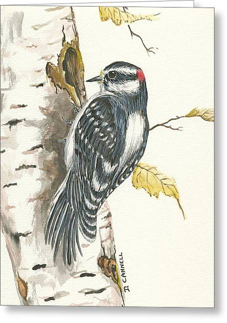 Greeting Card featuring the painting Woodpecker by Darren Cannell