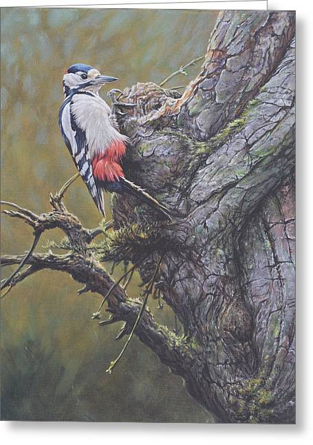 Greeting Card featuring the painting Woodpecker On Tree by Alan M Hunt
