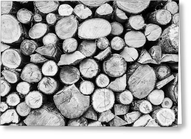 Woodpile Greeting Card by Stewart Scott