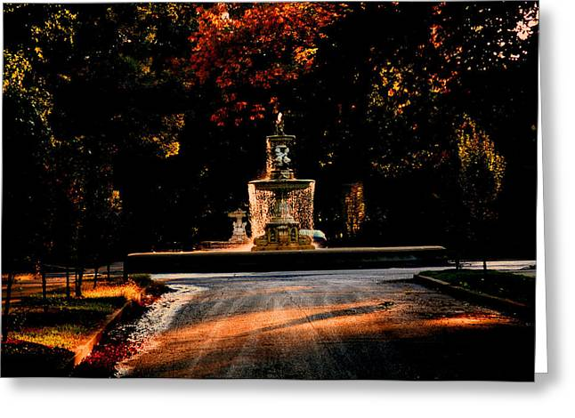 Woodruff Place Fountain  Greeting Card by Martin Morehead