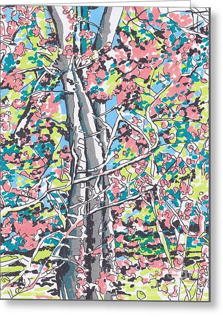 Woods #3 Greeting Card by Carolyn Alston Thomas