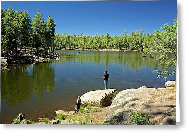 Woods Canyon Lake Greeting Card by Barbara Zahno