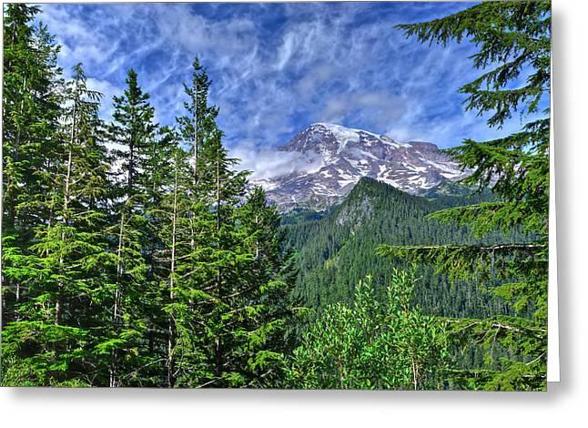 Woods Surrounding Mt. Rainier Greeting Card
