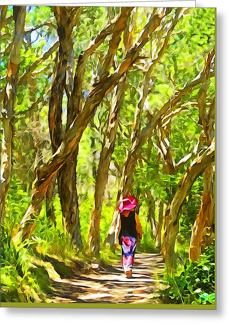Woods Walk Greeting Card by Dennis Cox WorldViews