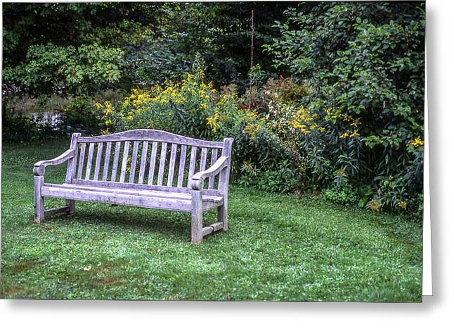 Woodstock Bench Greeting Card