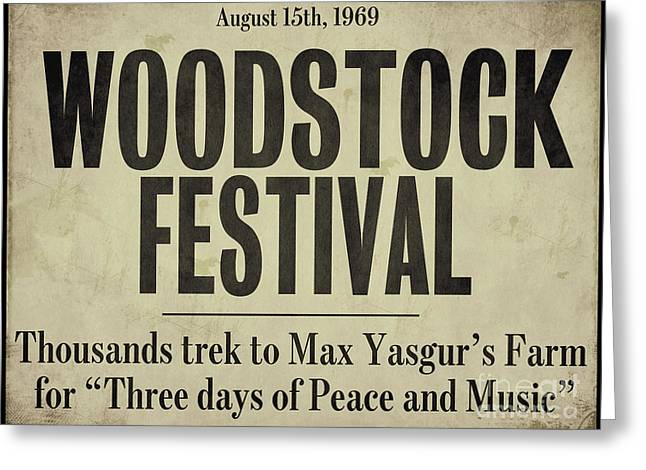 Woodstock Festival Newspaper Greeting Card by Mindy Sommers