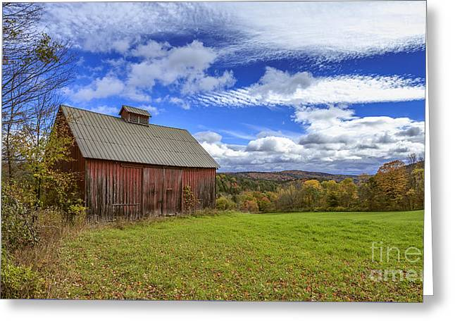 Woodstock Vermont Old Red Barn In Autunm Greeting Card by Edward Fielding