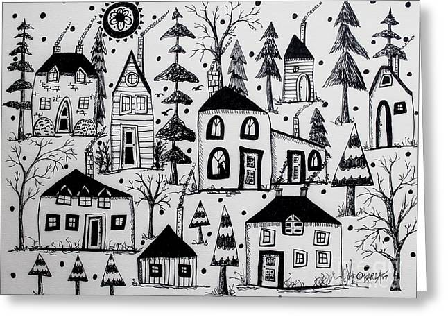 Woodsy Village Greeting Card by Karla Gerard