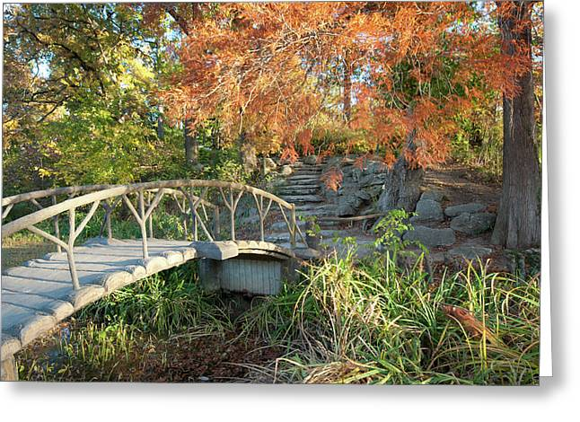 Woodward Park Bridge In Autumn - Tulsa Oklahoma Greeting Card