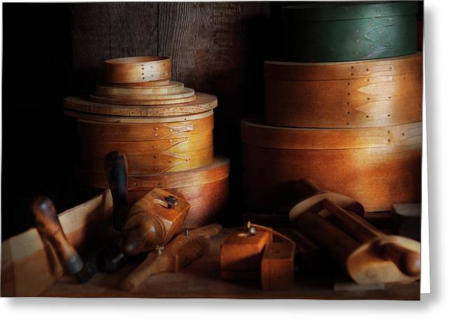 Woodworker - Shaker Box Shop  Greeting Card by Mike Savad
