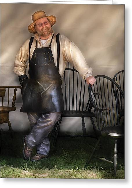 Woodworker - The Chair Maker  Greeting Card by Mike Savad