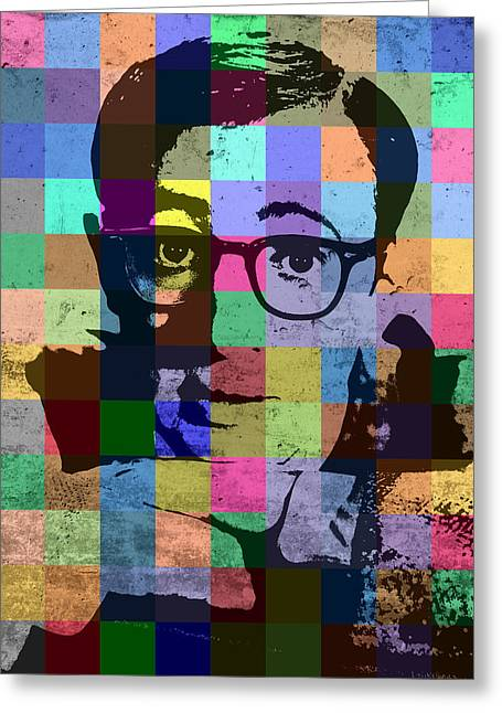 Woody Allen Director Hollywood Pop Art Patchwork Portrait Pops Of Color Greeting Card