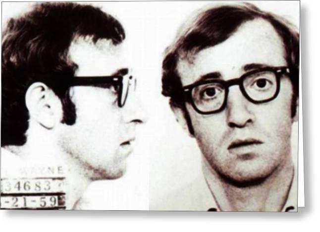 Woody Allen Mug Shot For Film Character Virgil 1969 Sepia Greeting Card