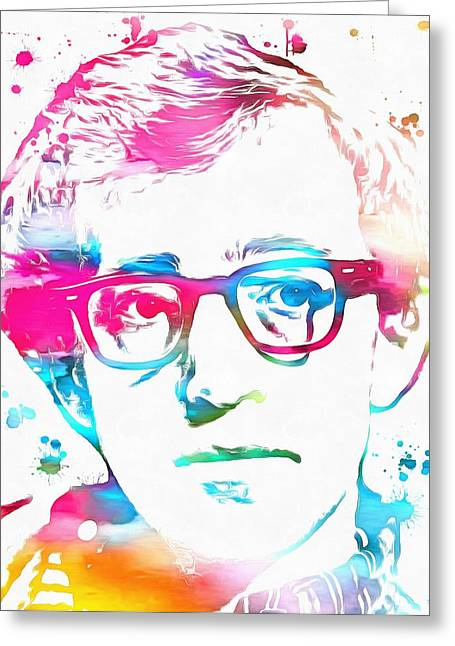 Woody Allen Paint Splatter Greeting Card by Dan Sproul