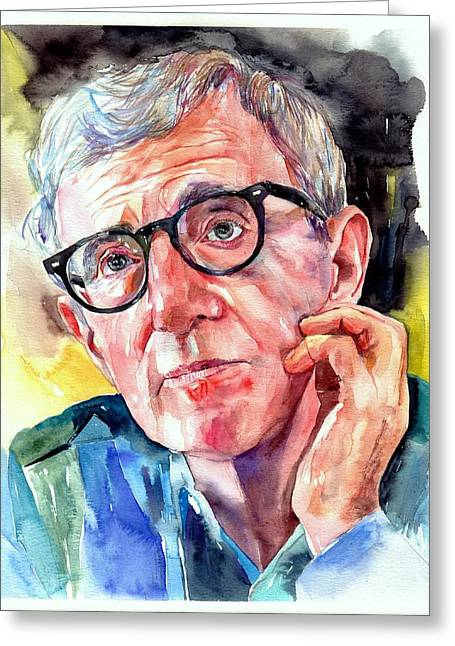 Woody Allen Portrait Painting Greeting Card