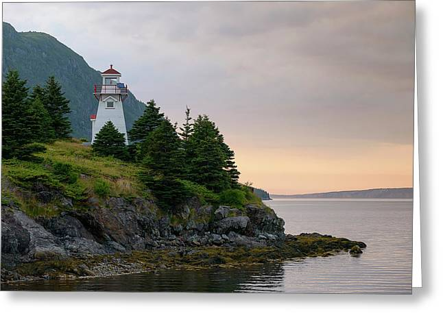 Woody Point Lighthouse - Bonne Bay Newfoundland At Sunset Greeting Card