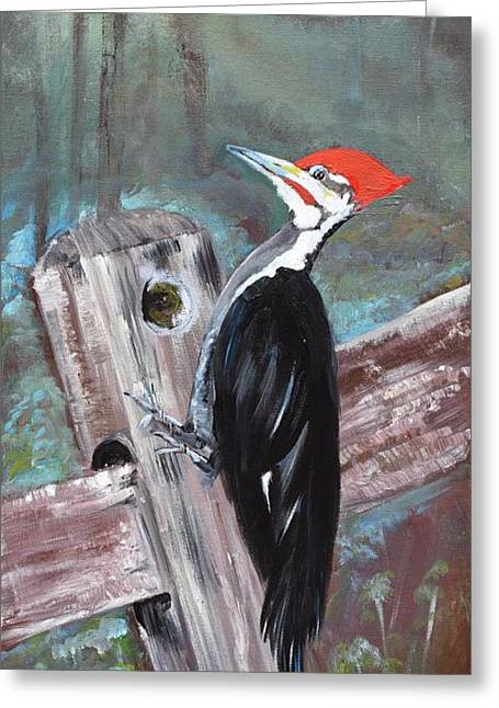 Greeting Card featuring the painting Woody - The Pileated Woodpecker by Jan Dappen