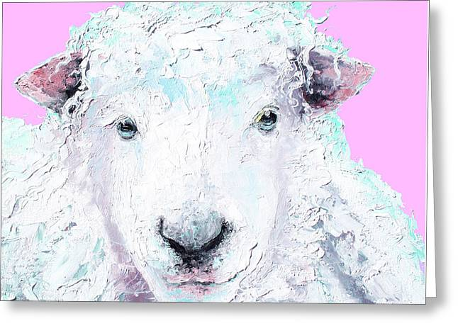Woolly Sheep On Pink Greeting Card