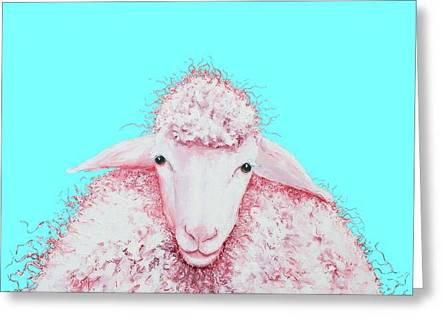 Woolly Sheep On Turquoise Greeting Card