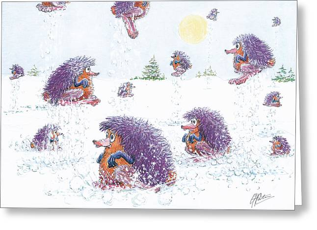 Woolly Snow Hoppers Greeting Card by Charles Cater