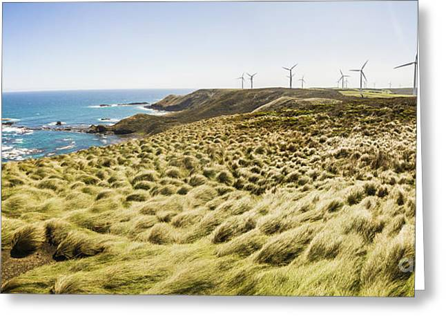 Woolnorth Wind Farm And Ocean Landscape Tasmania Greeting Card by Jorgo Photography - Wall Art Gallery