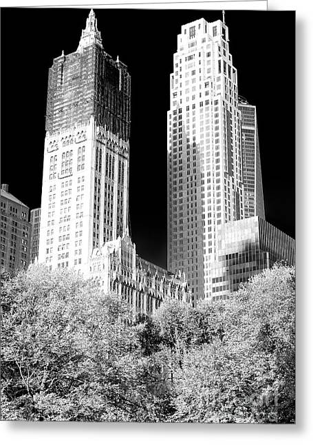 Greeting Card featuring the photograph Woolworth Shadows by John Rizzuto