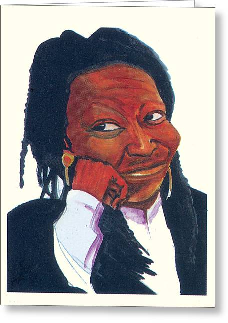Greeting Card featuring the painting Woopy Goldberg by Emmanuel Baliyanga