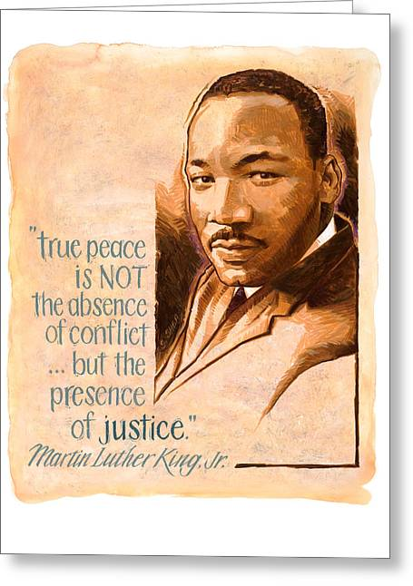 Civil Rights Movement Greeting Cards - Words of Peace  Man of Peace  Martin Luther King Jr Greeting Card by Shawn Shea