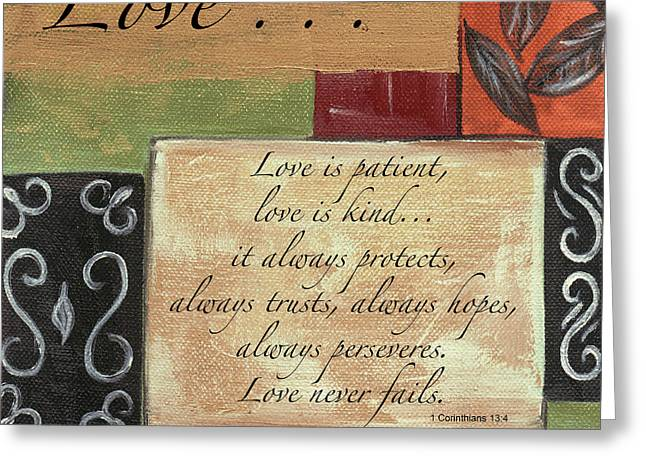 Words To Live By Love Greeting Card by Debbie DeWitt