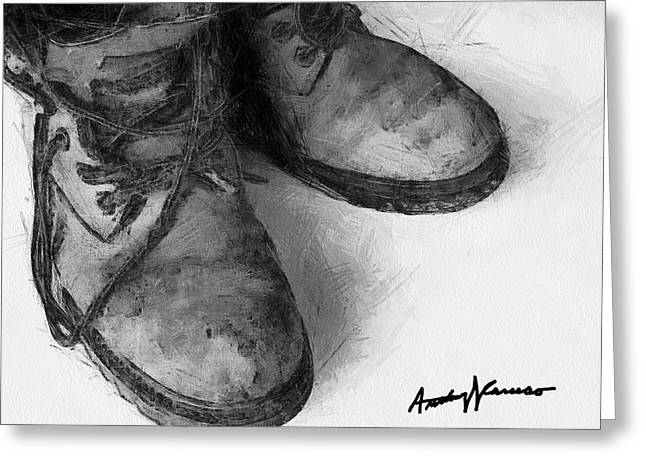 Work Boots Greeting Card by Anthony Caruso