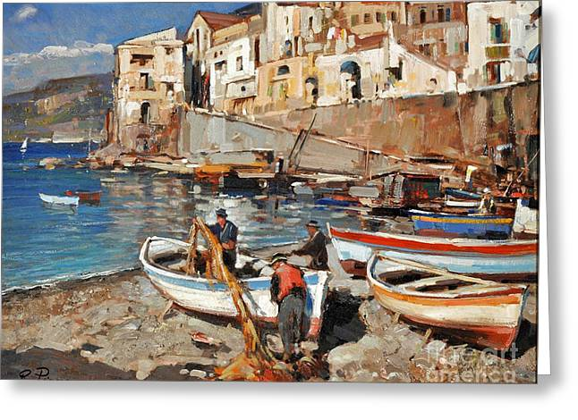 Greeting Card featuring the painting Work Never Ends For Amalfi Fishermen by Rosario Piazza