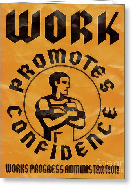 Work Promotes Confidence Vintage Poster Greeting Card by Edward Fielding