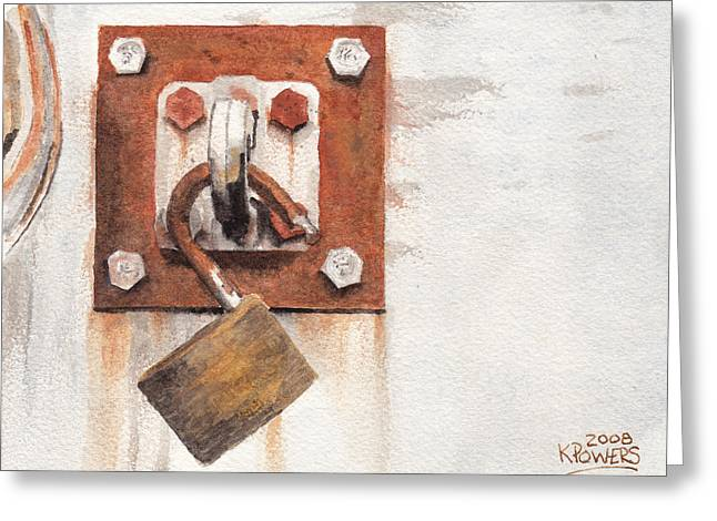 Work Trailer Lock Number Two Greeting Card by Ken Powers