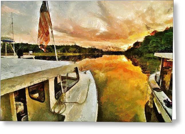 Workboats On San Damingo Creek Greeting Card