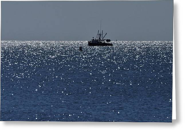 Workday On The Sound Greeting Card by Gerald Hiam