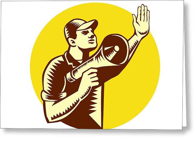 Worker Holding Megaphone Circle Woodcut Greeting Card by Aloysius Patrimonio