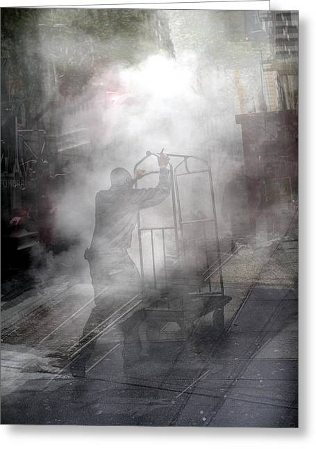 Greeting Card featuring the photograph Worker In Steam Collage by Dave Beckerman