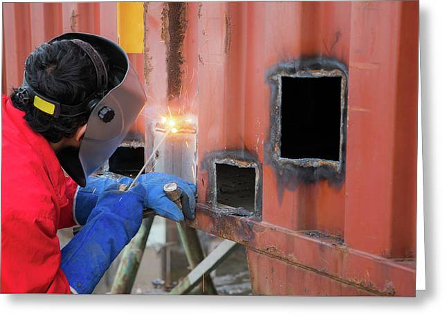 Worker Repair Container Box By Gas Cutting And Welding Greeting Card by Anek Suwannaphoom