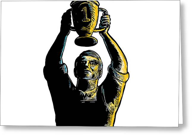 Worker Winning Championship Trophy Cup Woodcut Greeting Card