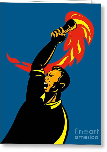 Worker With Torch Greeting Card by Aloysius Patrimonio