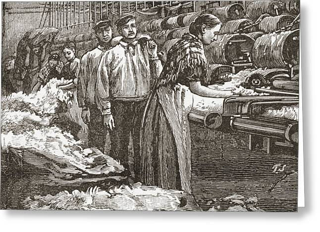 Workers At The Saltaire Woollen Mill Greeting Card