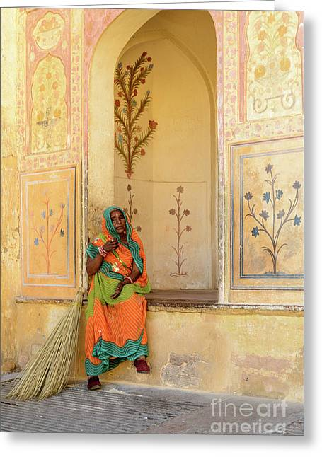 Workers In Amer Fort 01 Greeting Card