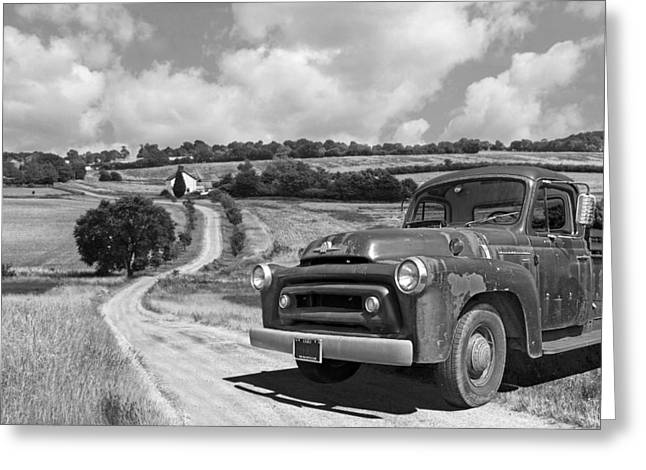 Down On The Farm- International Harvester In Black And White Greeting Card by Gill Billington
