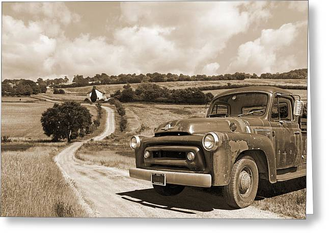 Down On The Fram - International Harvester In Sepia Greeting Card by Gill Billington