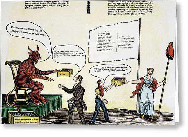 Democratic System Greeting Cards - Workie Cartoon, 1829 Greeting Card by Granger